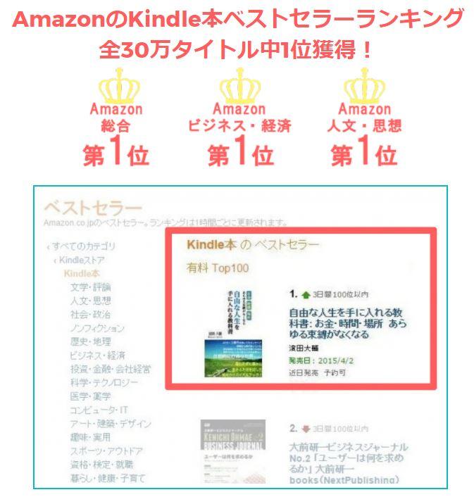 Amazonで1位の電子書籍を無料配布中!「自由な人生を手に入れる教科書」