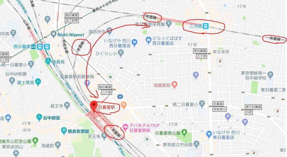 常磐線の日暮里駅と三河島駅の間が180度の急カーブになってるのはなぜ?