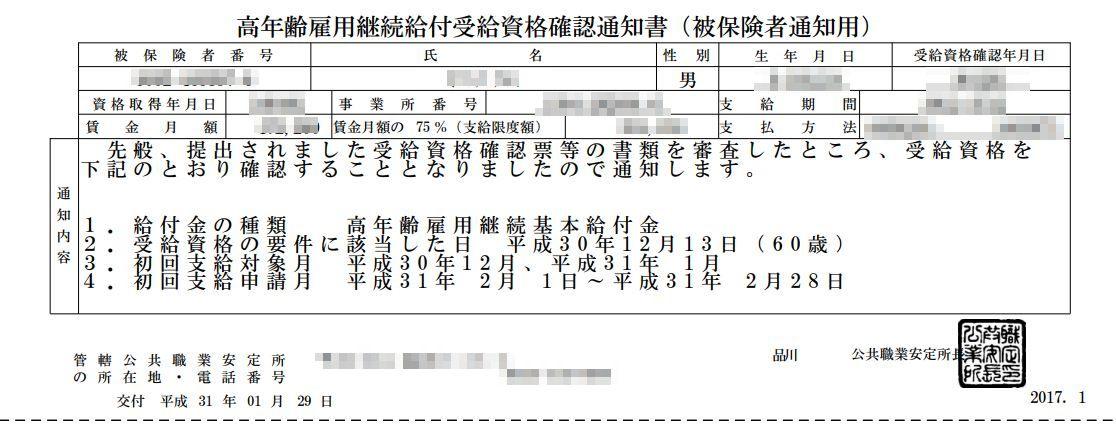 「高年齢雇用継続給付 受給資格確認通知書」の内容